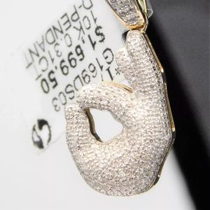 Other - Solid White Gold Natural Diamond OK Emoji Pendant